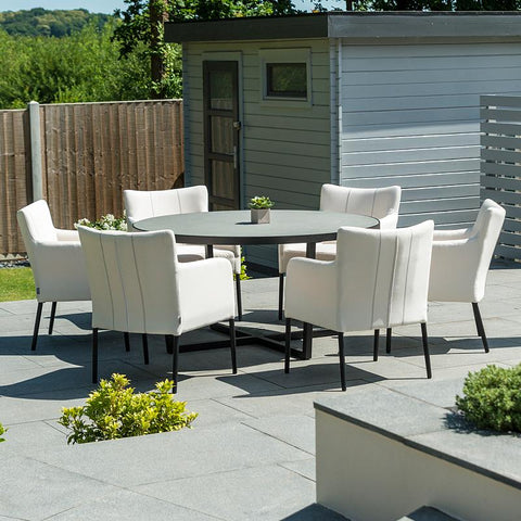 Nova - Hadid 6 Seat Round Outdoor Fabric Dining Set - Canvas