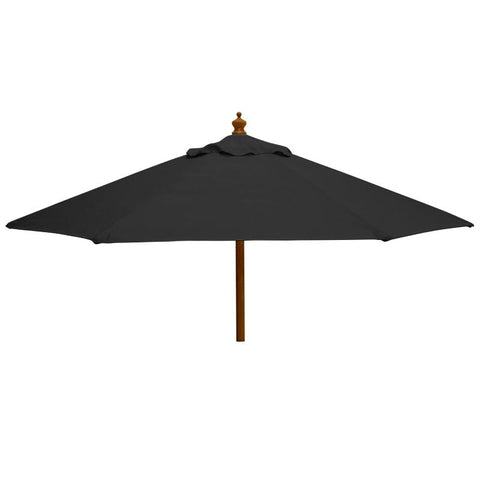 2m Round Wooden Garden Parasol - Pulley Operated
