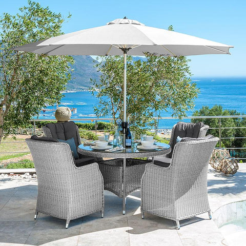 Heritage Thalia 4 Seat Rattan Dining Set - 1.2m Round Table