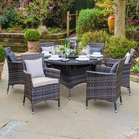 Amelia 6 Seat Dining Set - 1.3m Round Table