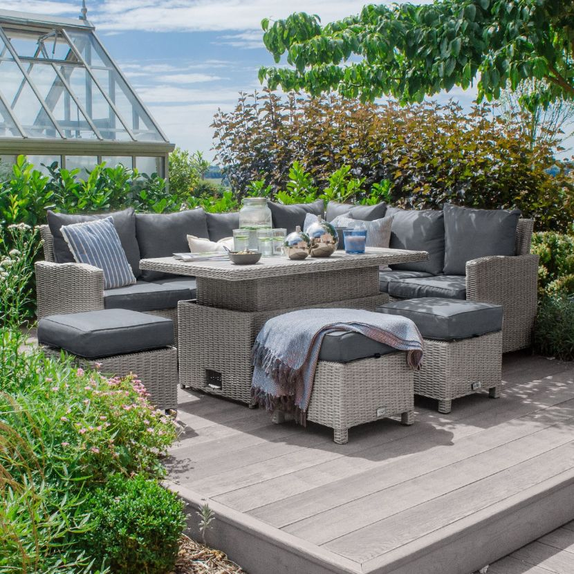 White Wash Rattan with Grey Cushions