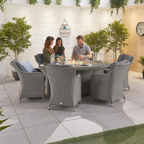 Camilla 6 Seat Dining Set - 1.8m x 1.2m Oval Firepit Table