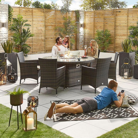 Amelia 6 Seat Dining Set - 1.5m Round Firepit Table