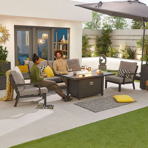 Vogue Aluminium Casual Dining 3 Seater Sofa Set with Firepit Table