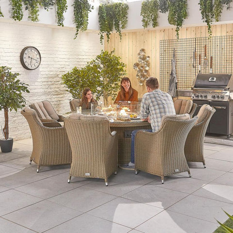 Camilla 8 Seat Dining Set - 1.8m Round Firepit Table