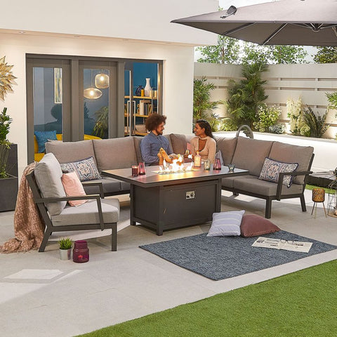 Vogue Aluminium Casual Dining Corner Sofa Set with Firepit Table & Armchair