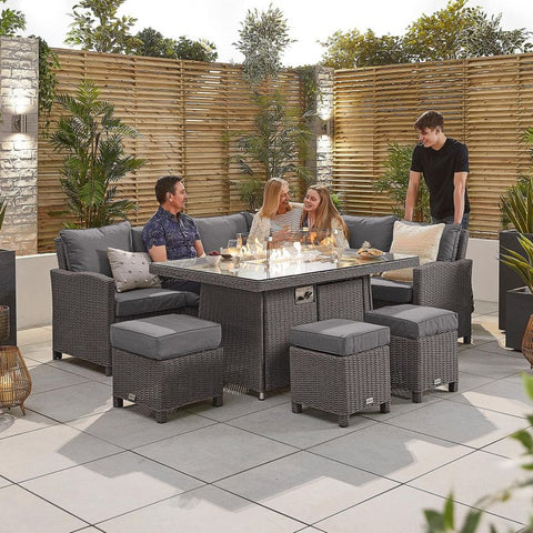 Ciara Right Hand Casual Dining Corner Sofa Set with Firepit Table