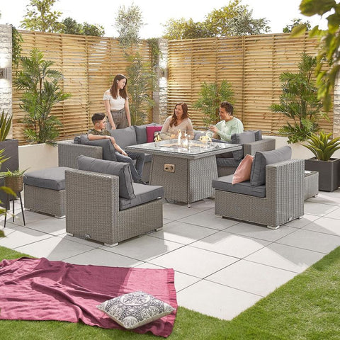 Chelsea 2C Rattan Corner Sofa Set with Firepit Table