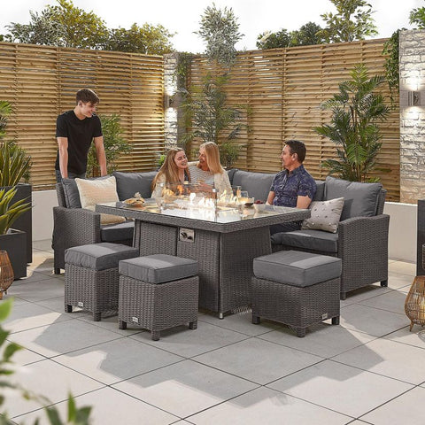 Ciara Left Hand Casual Dining Corner Sofa Set with Firepit Table