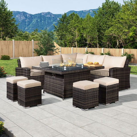 Deluxe Cambridge Casual Dining Corner Sofa Set with Firepit Table