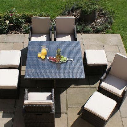 Rattan - 4 Seat Deluxe Cube Set With Footstools