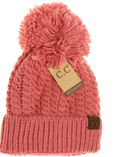 Twisted Mock Cable Knit Pom Toque