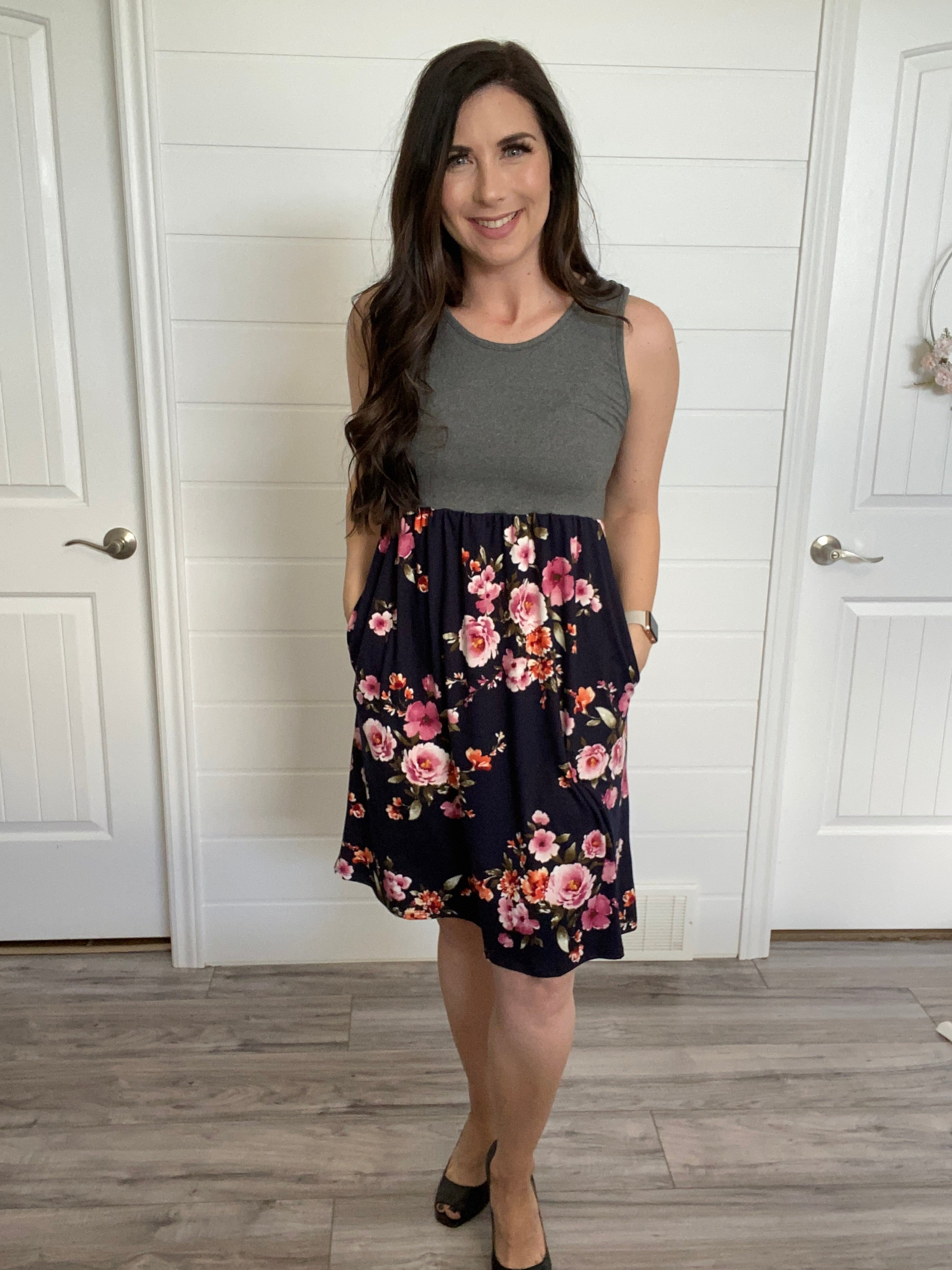 Navy Floral tank dress-Michelle Mae