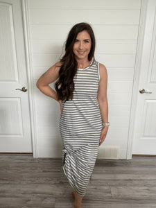 Line up maxi dress in grey- RD Style