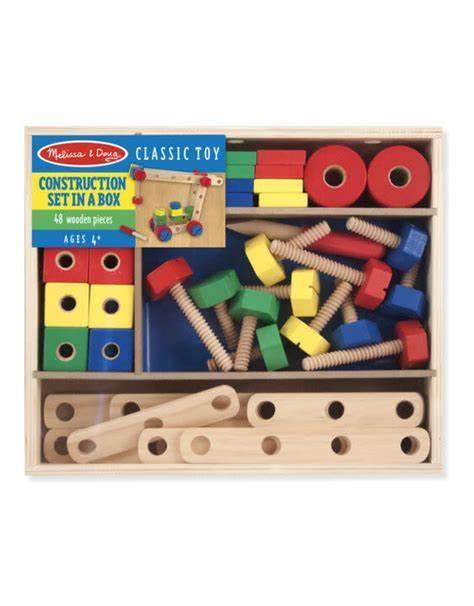 Set din lemn de construit cu suruburi Melissa and Doug