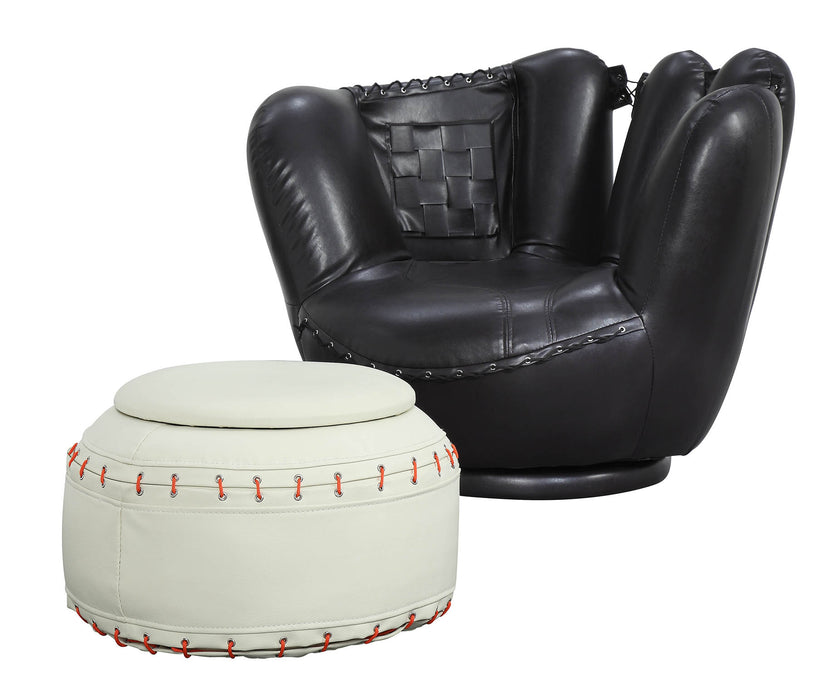 All Star Baseball: Black Glove Chair, White Ottoman Chair & Ottoman (2Pc Pk)