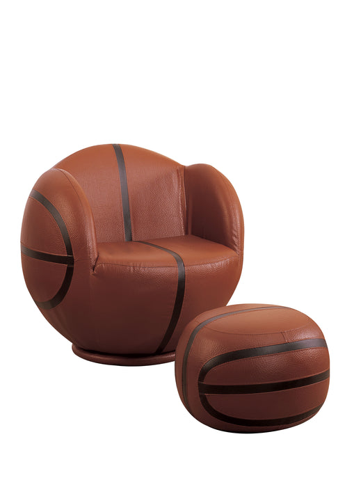 All Star Basketball: Brown & Black Chair & Ottoman (2Pc Pk)