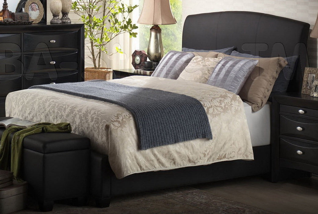Acme Ireland Full PU Panel Bed with Rounded Headboard in Black 14440F image