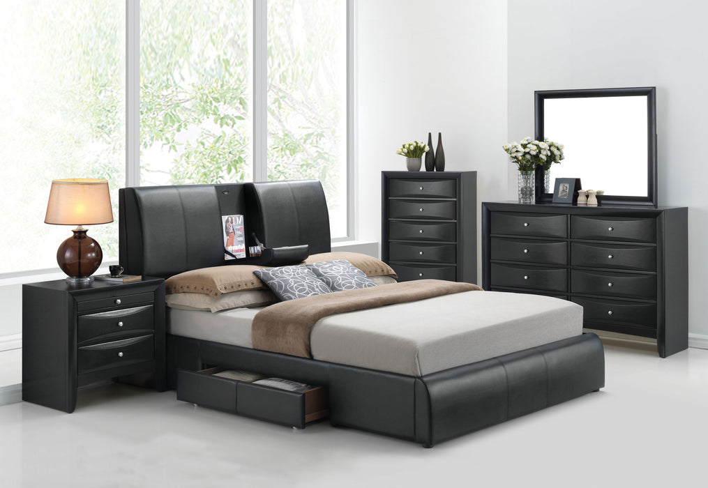 Kofi Black PU Eastern King Bed image
