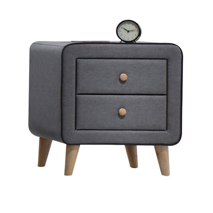 Valda Light Gray Fabric Nightstand