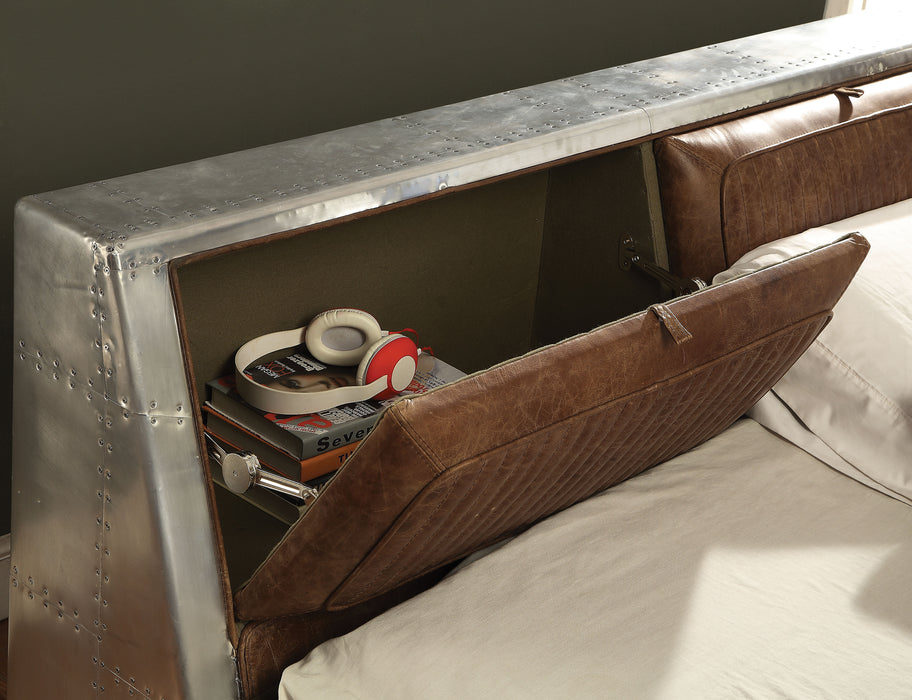 Brancaster Retro Brown Top Grain Leather & Aluminum Queen Bed