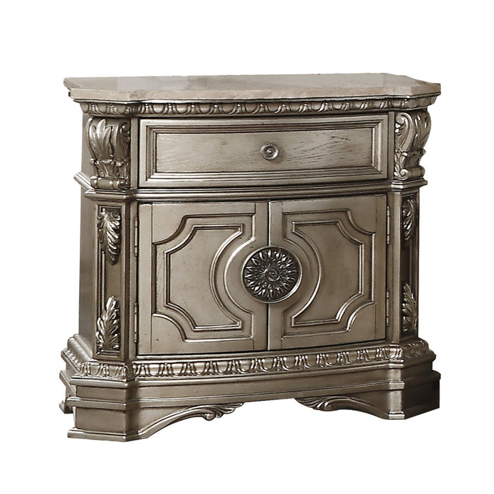 Northville Antique Silver Nightstand (MARBLE TOP)