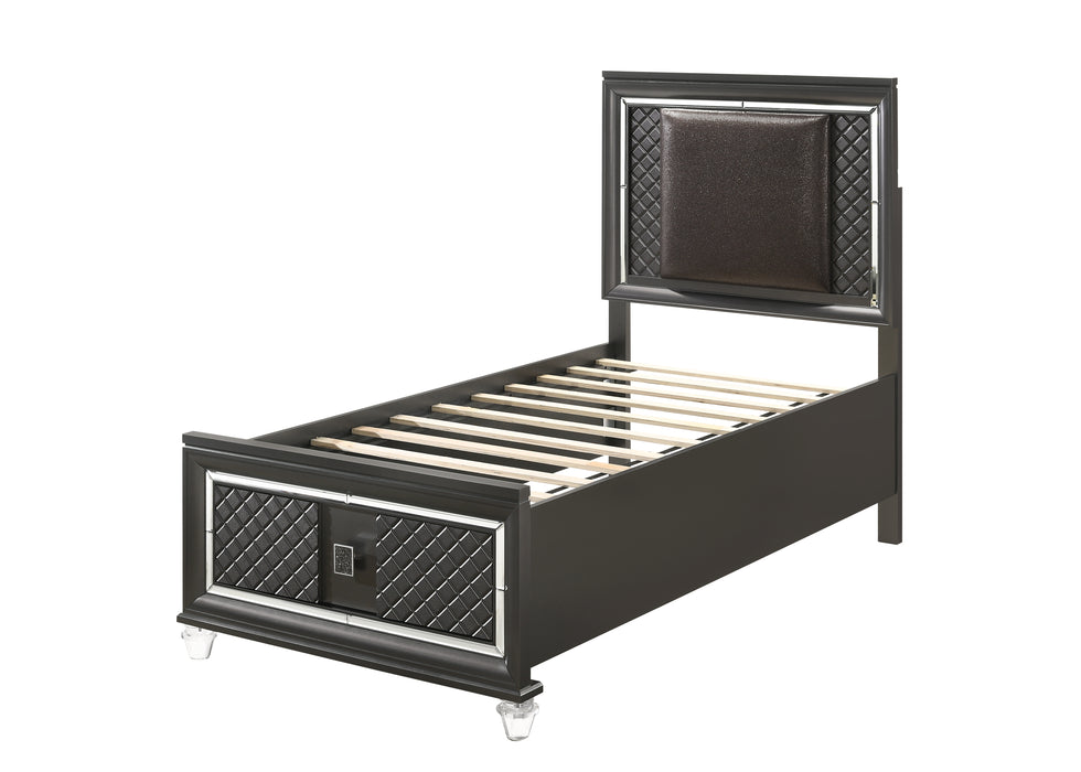Sawyer PU & Metallic Gray Twin Bed (Storage - 1 Drw)