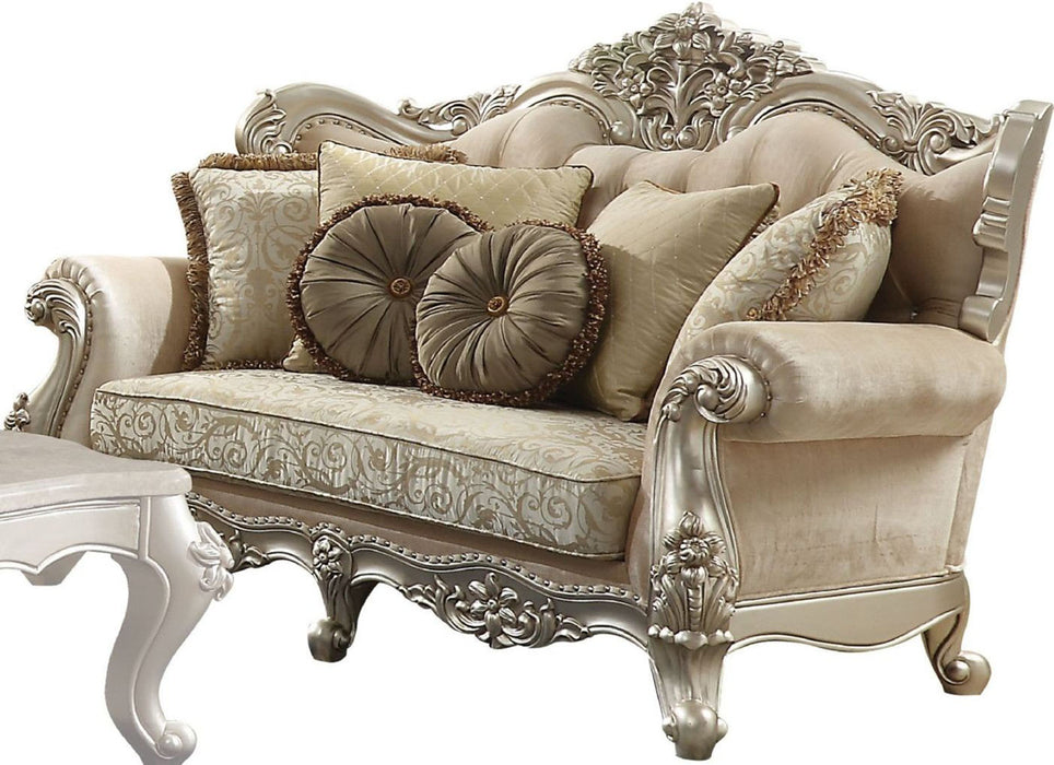 Acme Furniture Bently Loveseat with 5 Pillows in Champagne 50661 image