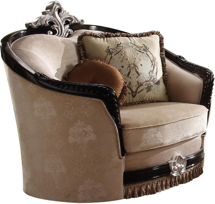 Acme Furniture Ernestine Chair with 2 Pillows in Tan and Black 52112 image