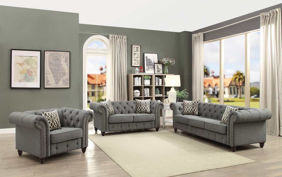 Aurelia Gray Linen Sofa w/2 Pillows image