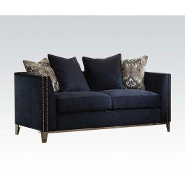 Acme Phaedra Loveseat with 4 Pillows in Blue Fabric 52831 image