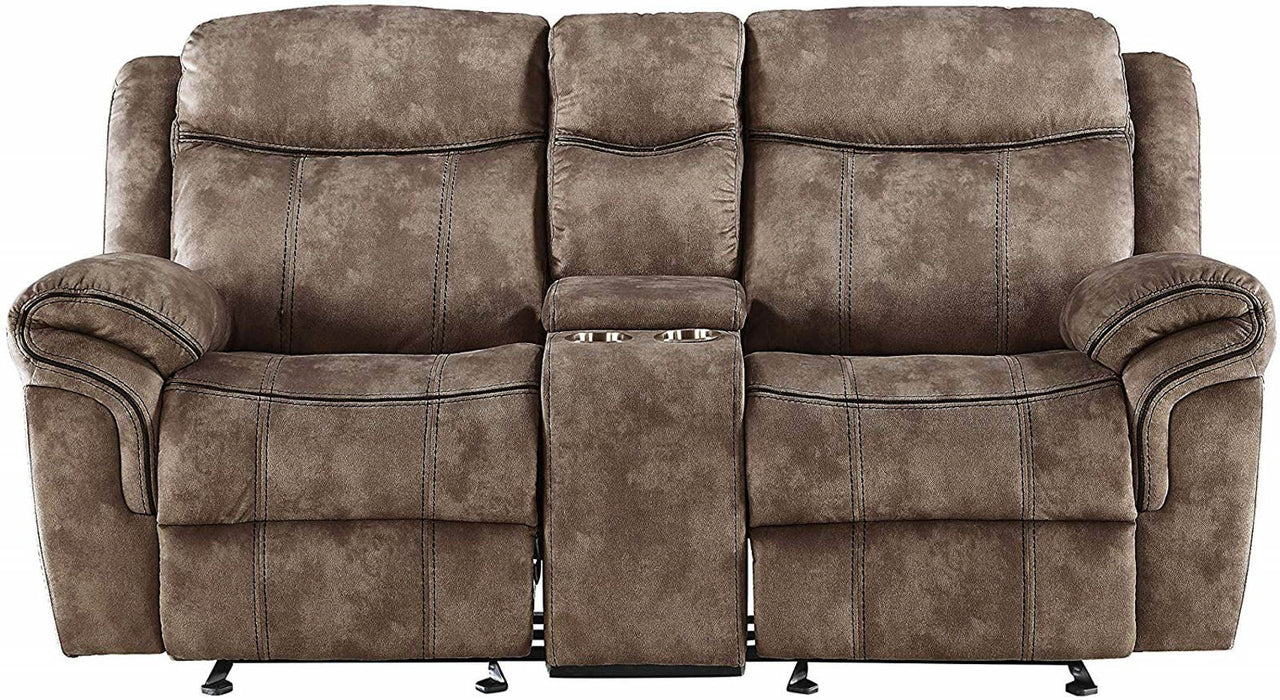 Acme Furniture Zubaida Motion Loveseat with Console in 2-Tone Chocolate Velvet 55021 image