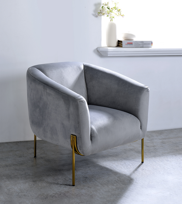 Carlson Gray Velvet & Gold Accent Chair image