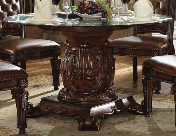 "Acme Vendome Single Pedestal Dining Table with 54"" Tempered Glass Top in Cherry 62010 image"