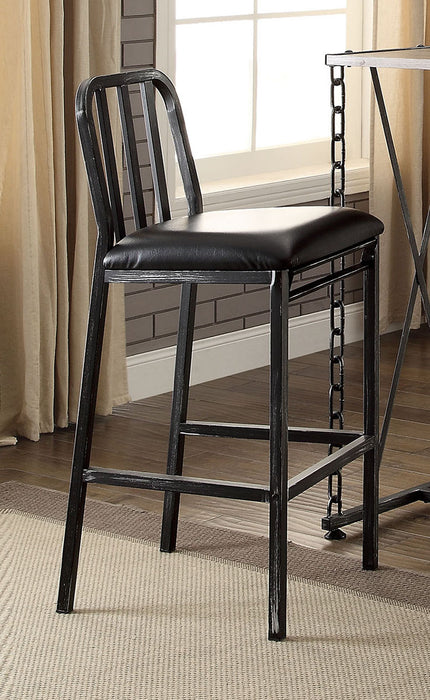 Acme Furniture Jodie Bar Chair in Black PU and Antique Black (Set of 2) 71992 image