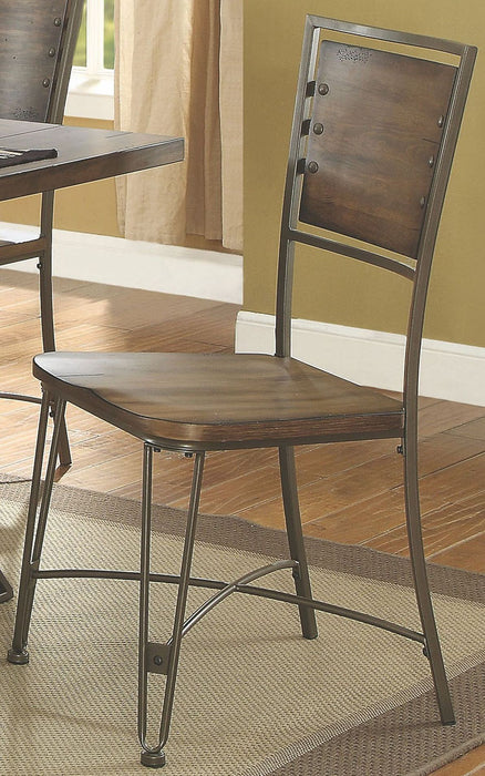 Acme Furniture Jodoc Side Chair in Walnut and Gunmetal (Set of 2) 72347 image