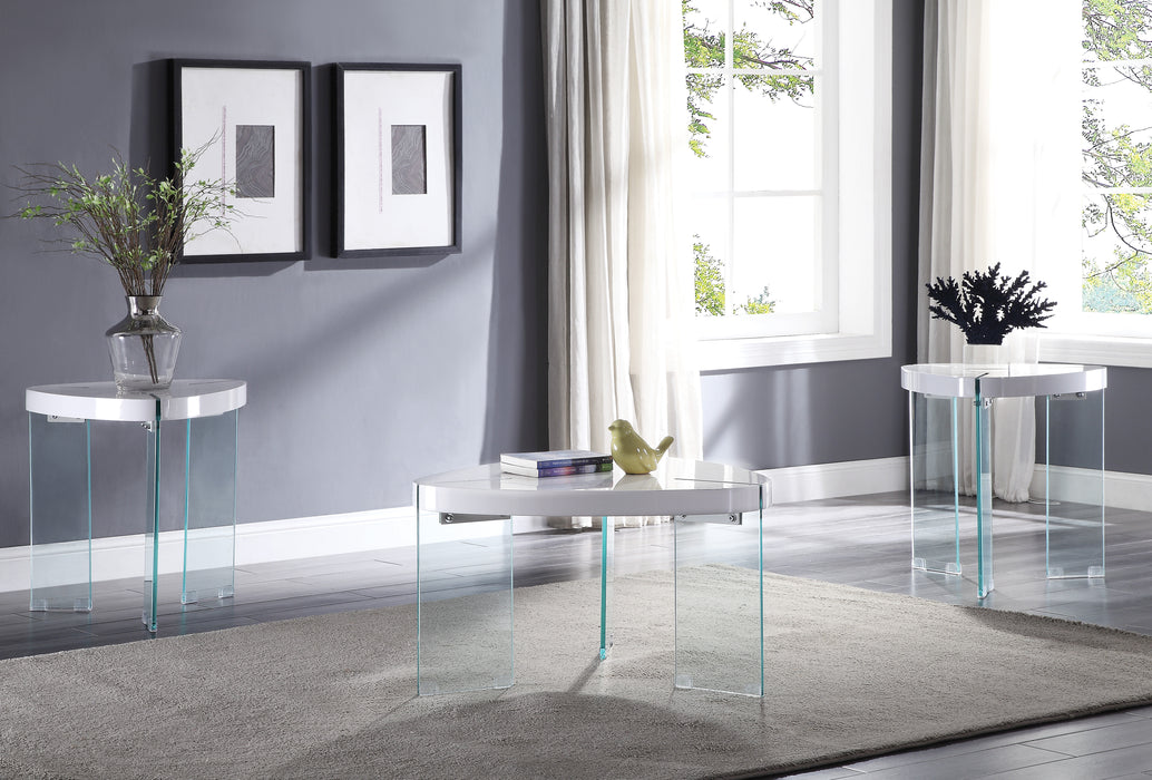 Noland White High Gloss & Clear Glass Coffee Table image