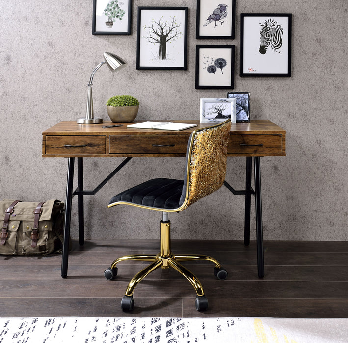 Jalia Rustic Oak & Black Desk image