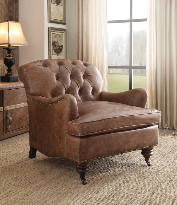 Durham Retro Brown Top Grain Leather Accent Chair image