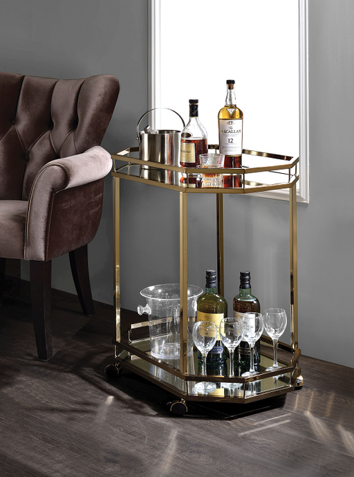 Lacole Champagne & Mirror Serving Cart image