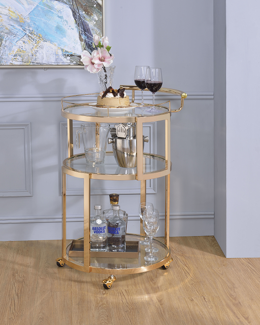 Madelina Gold & Clear Glass Serving Cart image