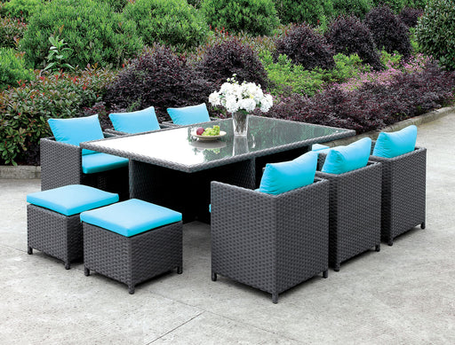 Ashanti Light Brown Wicker/Turquoise Cushion 11 Pc. Patio Dining Table Set image