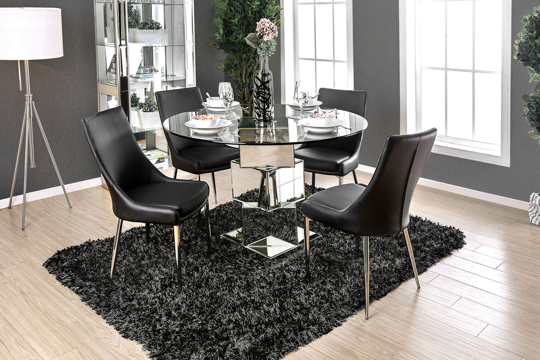 Izzy Chrome 5 Pc. Round Dining Table Set (BK Chairs) image