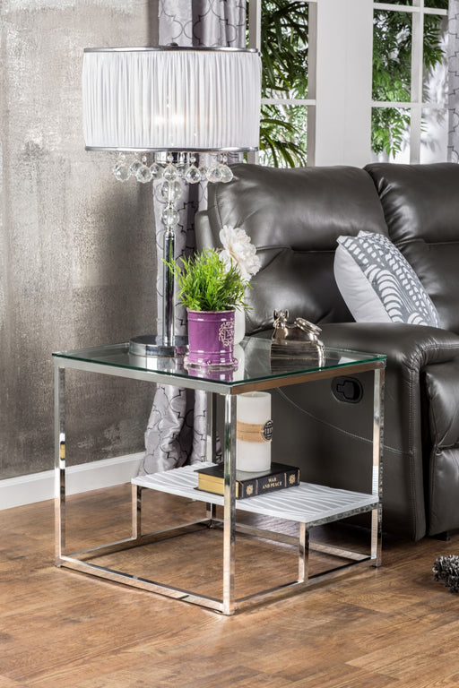 VENDI White/Chrome End Table image
