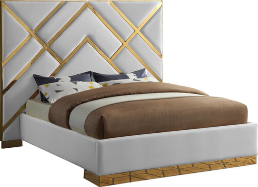 Vector White Faux Leather Queen Bed image