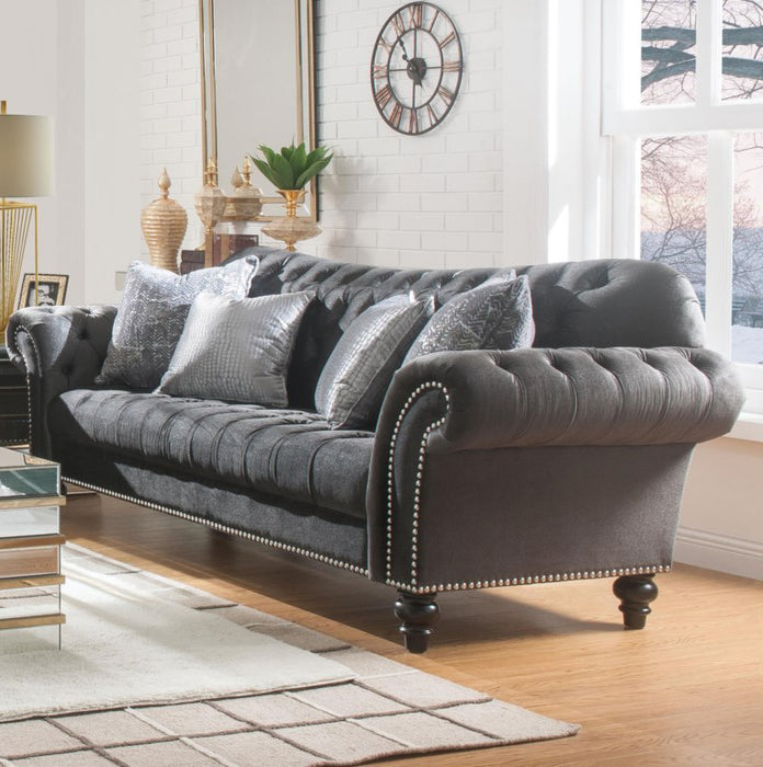 Acme Furniture Gaura Sofa in Dark Gray Velvet 53090 image
