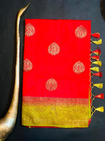 Women's Banaras Soft Silk Saree (Red)
