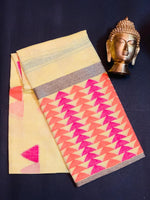 Women's Banaras Linen Cotton Saree (Sandstone/Orange Brown)