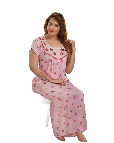 Women's Cotton printed Nighty, Free Size - N23