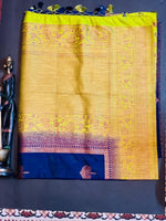 Women's Banaras Soft Silk Saree (Navy Blue)
